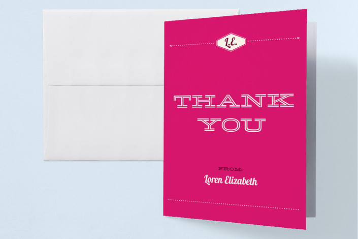 """""""Ladies Night"""" - Vintage, Bold typographic Bachelorette Party Thank You Cards in Hot Pink by Monica Tuazon."""