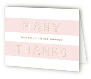 This is a pink wedding thank you card by Lauren Chism called Heres She Comes with standard printing on strathmore in standard.