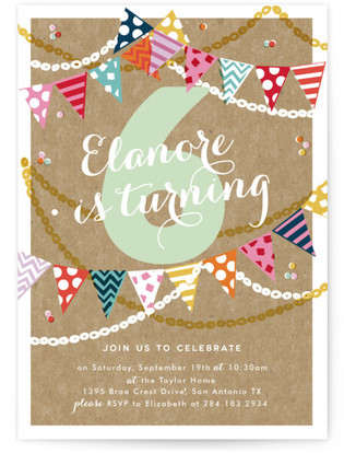 garland celebration childrens birthday party online invitations