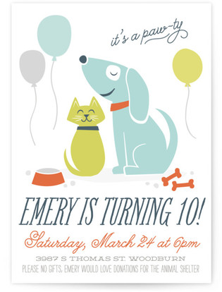 pawty time childrens birthday party online invitations