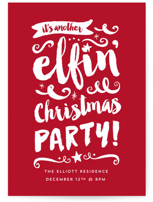 Elfin Party Christmas Online Invitations