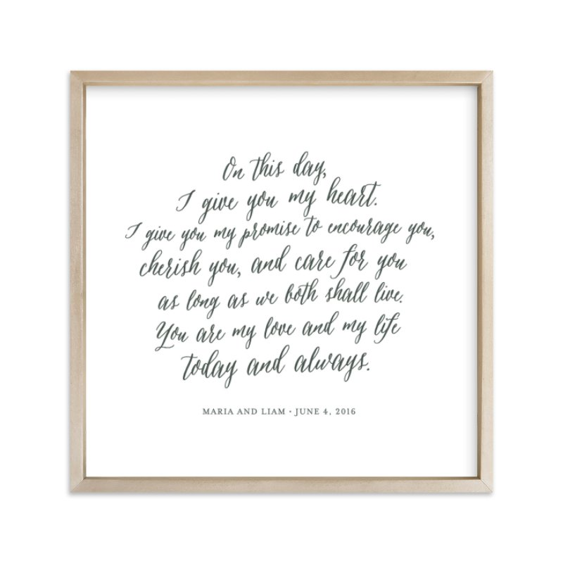 """Your Vows as an Art Print"" - Drawn Digital Art by Minted in beautiful frame options and a variety of sizes."