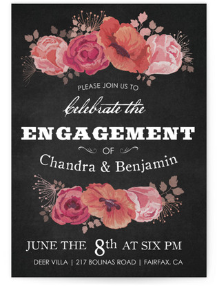 Chalk Blossoms Engagement Party Online Invitations
