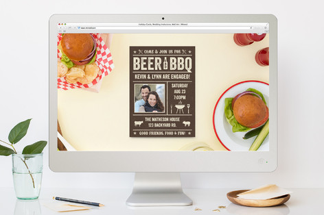 Outdoor Beer & BBQ Engagement Party Online Invitations