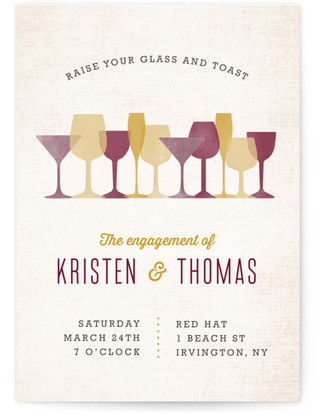Raise A Glass Engagement Party Online Invitations
