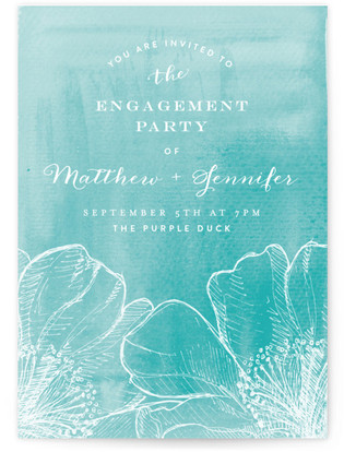 Watercolor Garden Engagement Party Online Invitations