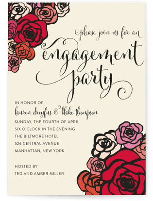 Red Roses Engagement Party Online Invitations