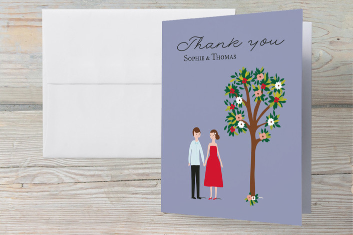 """Bliss"" - Hand Drawn, Vintage Engagement Party Thank You Card in Grape by Angela Thompson."