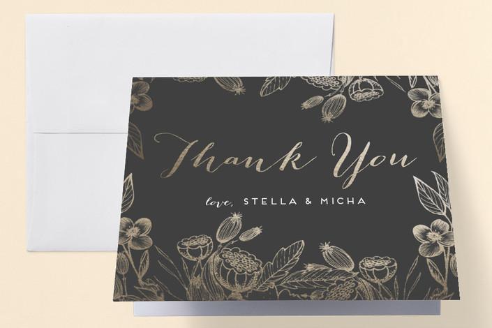 """""""Botanical Engagement"""" - Elegant, Floral & Botanical Engagement Party Thank You Card in Golden by Grace Kreinbrink."""