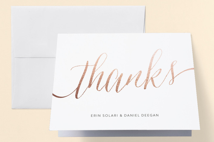 engaged in rose gold engagement party thank you card by erin deegan