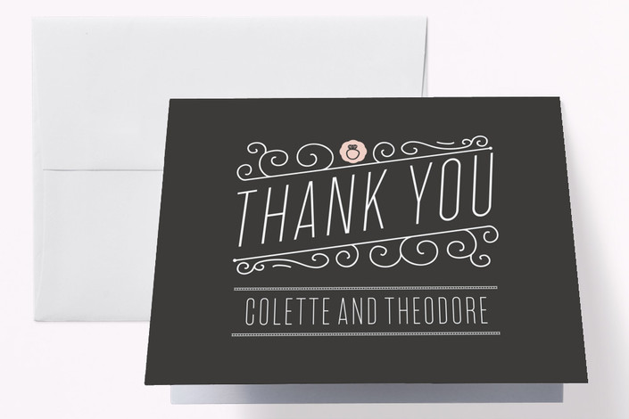 """Engagement Cocktails and Music"" - Vintage Engagement Party Thank You Card in Petal by Bonjour Paper."
