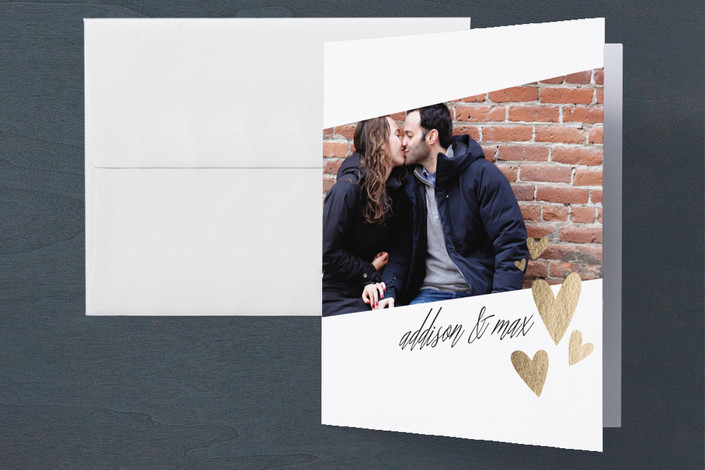 """""""Floating Hearts"""" - Simple, Modern Engagement Party Thank You Card in Gold by Erin Deegan."""