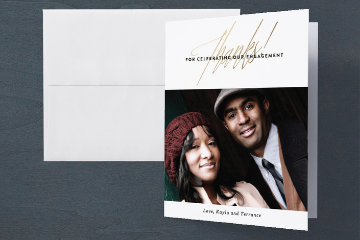 """""""Glam Engagement"""" - Modern, Bold typographic Engagement Party Thank You Card in Snow by Olivia Raufman."""