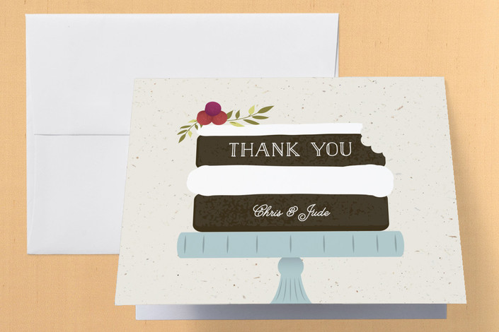 """Naked Cake"" - Rustic Engagement Party Thank You Card in Chocolate by Leah Bisch."