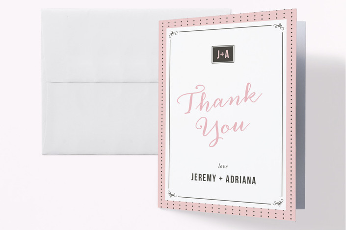 """Polkadot Chic"" - Vintage Engagement Party Thank You Card in Cotton Candy by Rachel Buchholz."