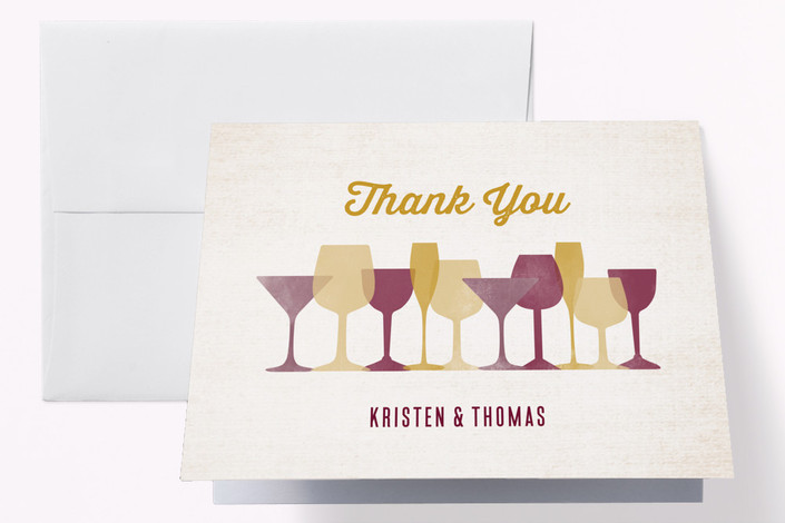 """""""Raise A Glass"""" - Modern Engagement Party Thank You Card in Parchment by Annie Holmquist."""