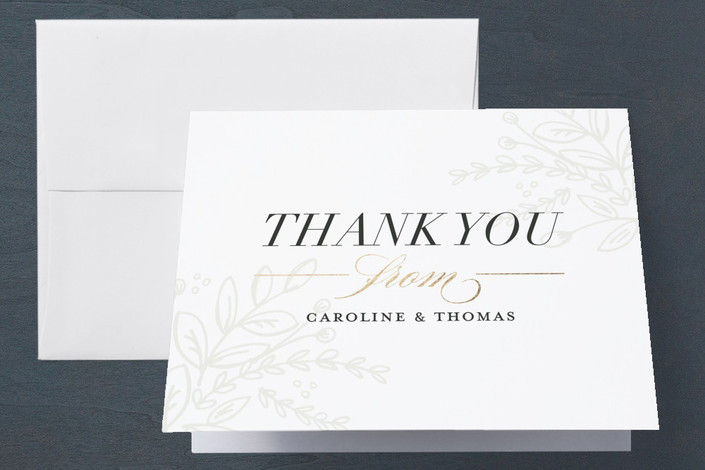 """""""Soft Bouquet"""" - Elegant, Floral & Botanical Engagement Party Thank You Card in Taupe by Jessica Williams."""