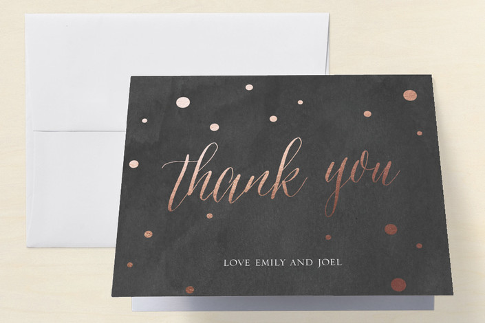 """""""Rose Gold Celebration"""" - Engagement Party Thank You Card in Charcoal by Splendid Press."""