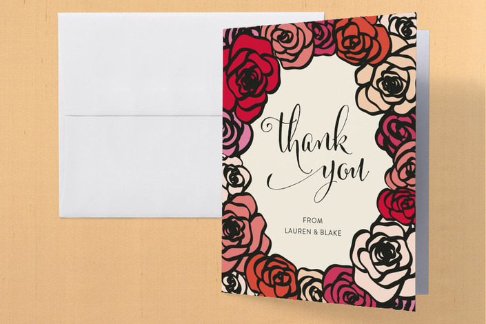 """Red Roses"" - Floral & Botanical, Vintage Engagement Party Thank You Card in Cranberry by Annie Walker."