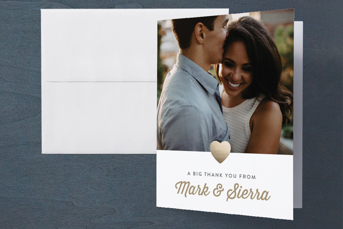 """""""Big Love"""" - Modern, Simple Engagement Party Thank You Card in Golden by Sara Hicks Malone."""
