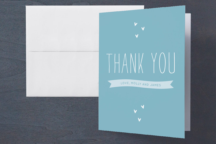 """""""Happy Together"""" - Engagement Party Thank You Card in Sky Blue by Sara Hicks Malone."""