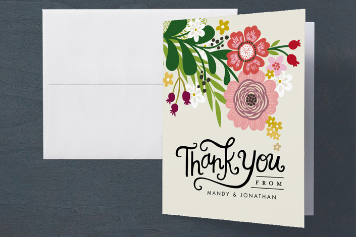 """Festive Florals"" - Engagement Party Thank You Card in Bouquet by Alethea and Ruth."