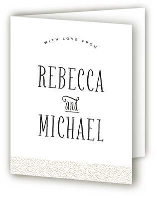 Gold Dotted Engagement Party Thank You Card