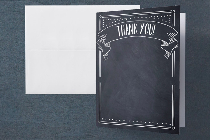 """""""Finally Engaged"""" - Engagement Party Thank You Card in Chalkboard by Erin Deegan."""
