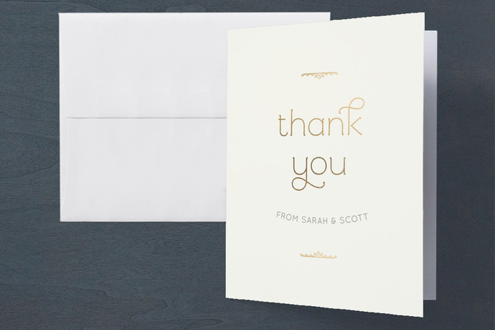 """Royale"" - Engagement Party Thank You Card in Ivory by Laura Hankins."