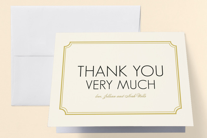 """""""Modern Classic"""" - Modern Engagement Party Thank You Card in Golden Bear by annie clark."""