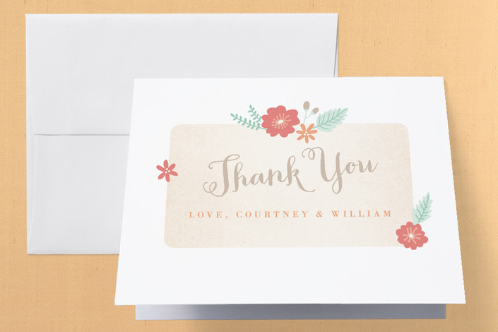 """Sweet Cake"" - Engagement Party Thank You Card in Seafoam by Monika Drachal."
