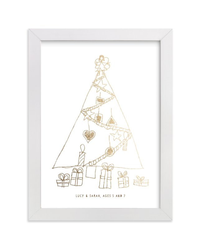 This is a gold art by Minted Custom called Your Drawing as Foil Art Print with foil-pressed.