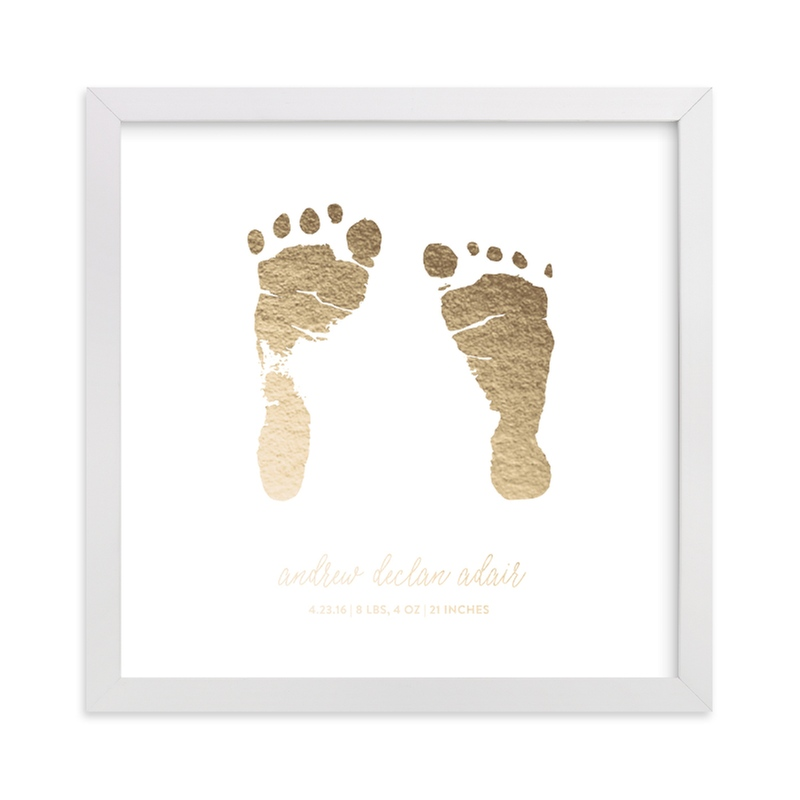 This is a gold art by Minted Custom called Custom Footprints Foil Art with foil-pressed.