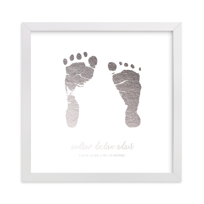 This is a silver art by Minted Custom called Custom Footprints Foil Art with foil-pressed.
