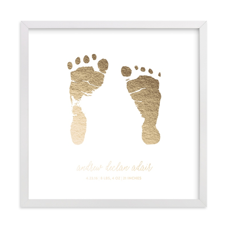 This is a gold photos to art by Minted called Custom Footprints Foil Art.