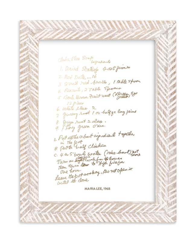 """""""Your Recipe as a Foil Art Print"""" - Drawn Foil Art by Minted in beautiful frame options and a variety of sizes."""