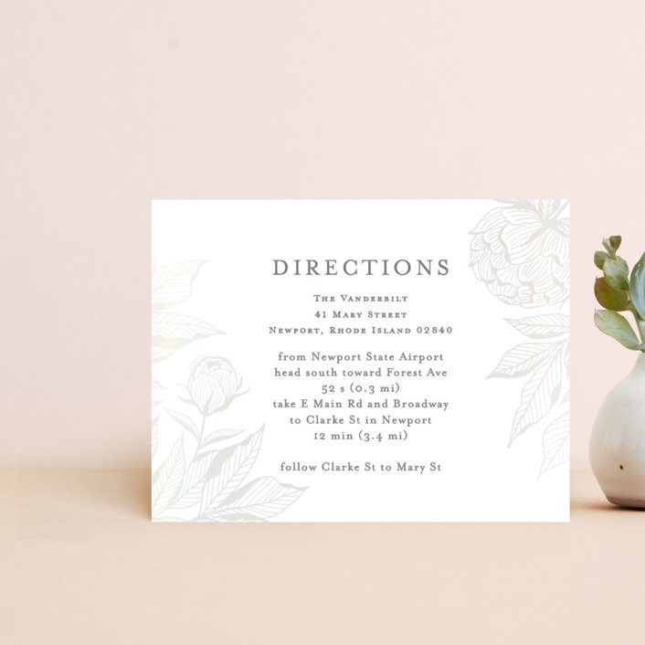 """""""Etched Peonies"""" - Gloss-press™ Direction Cards in Snow by Chris Griffith."""