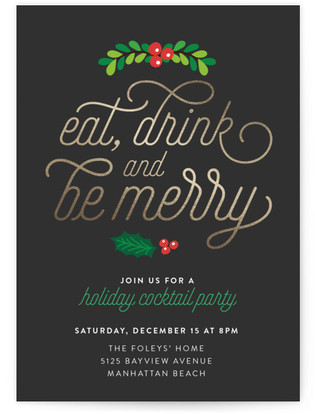 eat drink and be merry holiday party online invitations