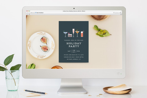 Festive Cocktails Holiday Party Online Invitations