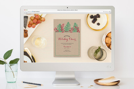 Pine Sprig & Berries Holiday Invite Holiday Party Online Invitations