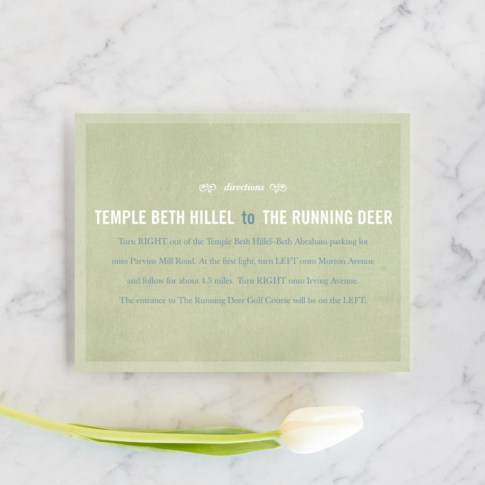 """""""Bouquet D'Amour"""" - Floral & Botanical, Rustic Direction Cards in Pacific Jade by Beth Ann."""