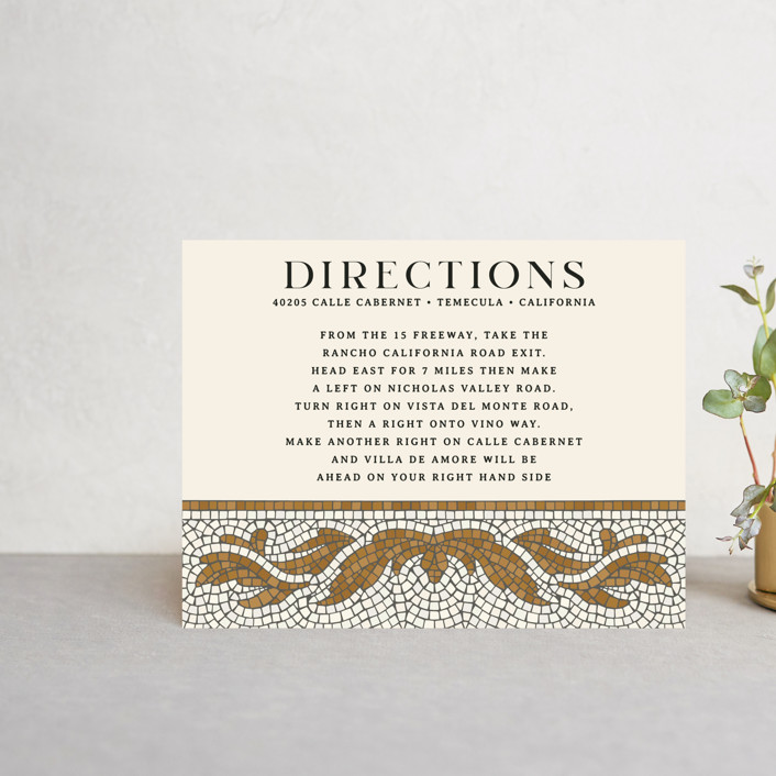 """""""Floral mosaic"""" - Vintage Direction Cards in Sand by GeekInk Design."""