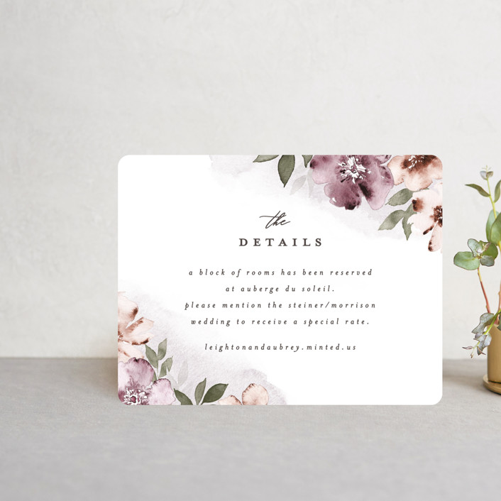 """""""Fancifully"""" - Direction Cards in Dust Mauve by Everett Paper Goods."""
