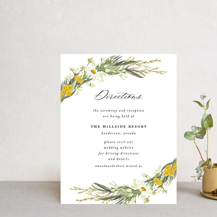 """Organic Florals"" - Direction Cards in Honey by Susan Moyal."