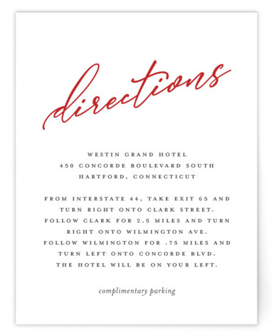 This is a simple and minimalist, red Direction Cards by Karen Glenn called Why Knot with Standard printing on Signature in Card Flat Card format. A play on words titles this fun, typographical wedding invitation for the modern couple