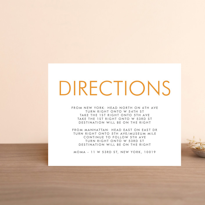 """Minimalist Display"" - Direction Cards in Orange by Coco and Ellie Design."