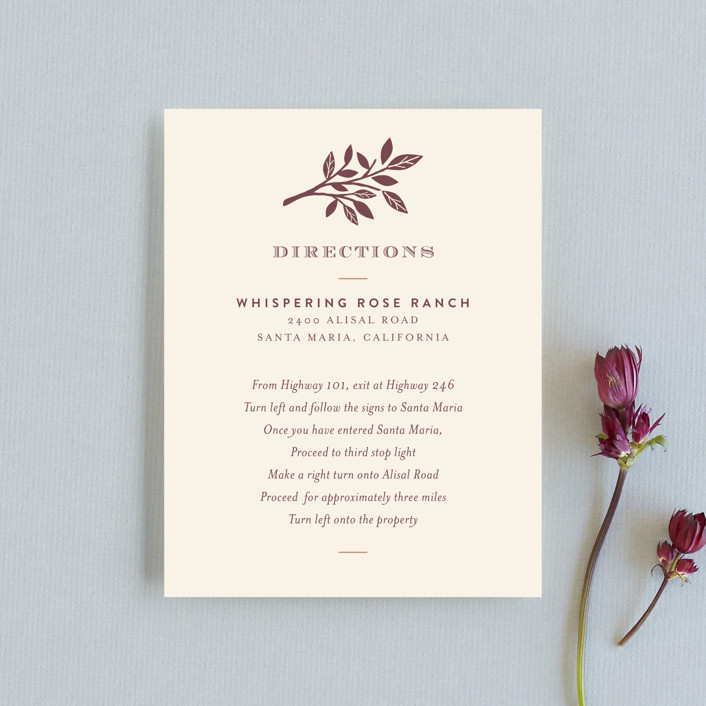 """""""Enchanted"""" - Monogrammed, Rustic Direction Cards in Bark by Griffinbell Paper Co.."""