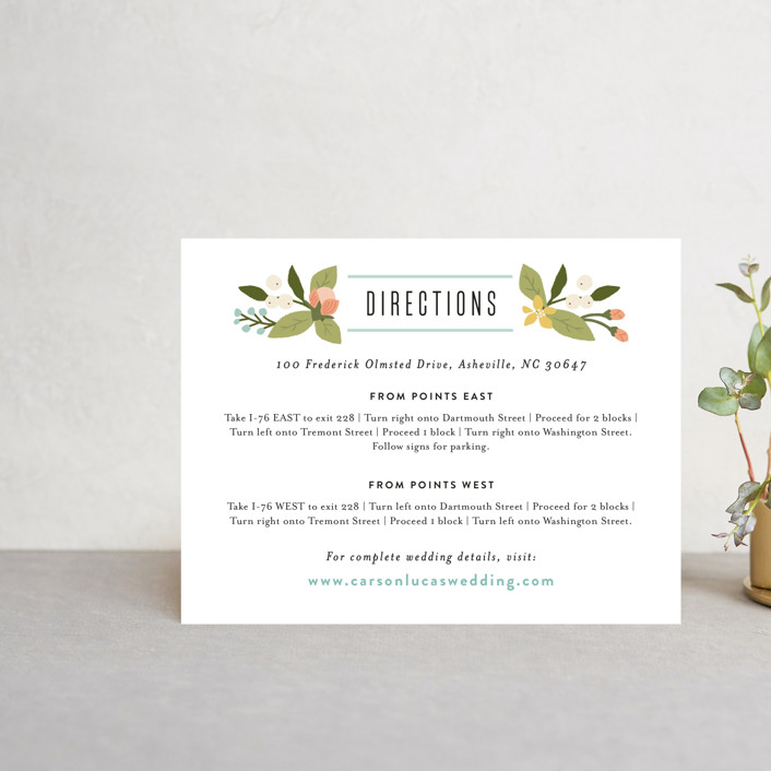 """Floral Ampersand"" - Rustic Direction Cards in Sea Breeze by Jennifer Wick."
