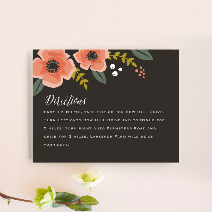 """""""Garden Blooms"""" - Floral & Botanical, Rustic Direction Cards in Peach by Karidy Walker."""
