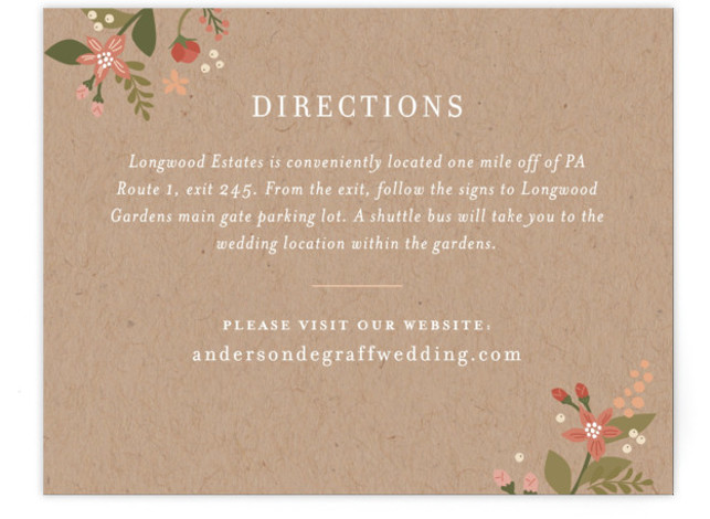 This is a landscape botanical, brown Direction Cards by Jennifer Wick called Longwood Estates with Standard printing on Signature in Card Flat Card format. A playful mix of formal type and garden florals create a beautiful and romantic wedding invitation. ...